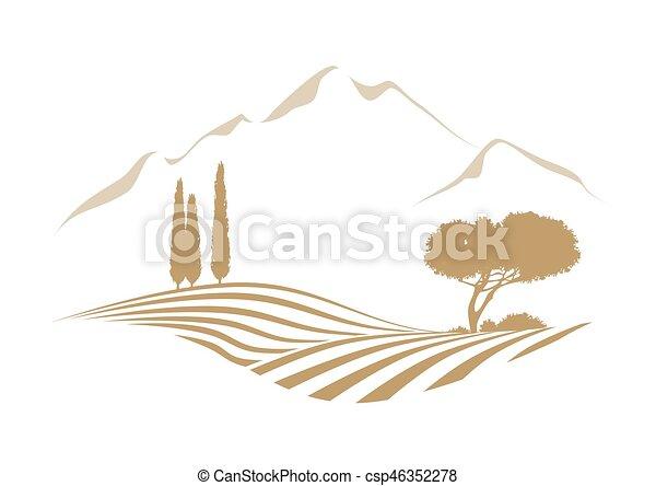 Paisaje vektor rural con montañas - csp46352278