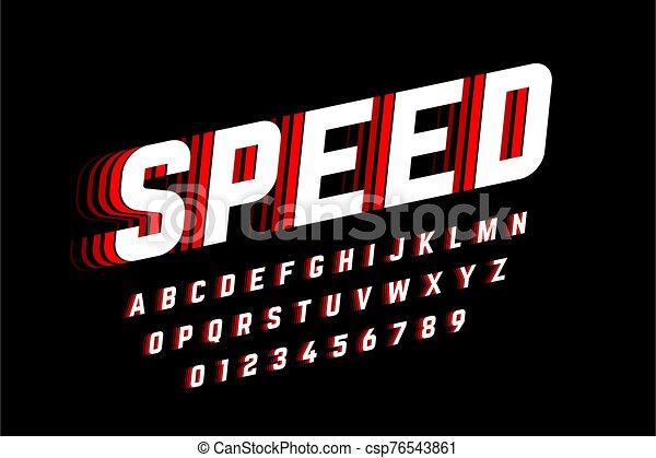 velocidad, fuente, estilo - csp76543861