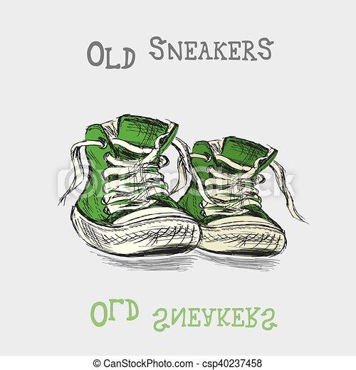 Zapatillas antiguas a mano - csp40237458