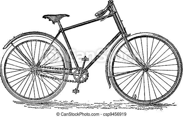 Bicicleta de velocipedo, grabado antiguo. - csp9456919