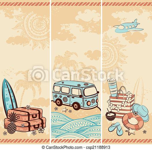 Verano antiguo y pancartas de viaje - csp21188913