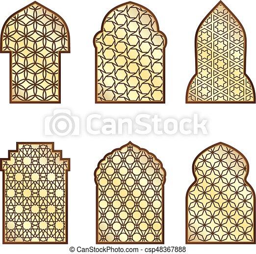 Ventanas clásicas islámicas y puertas con adorno árabe. Patrón vector - csp48367888