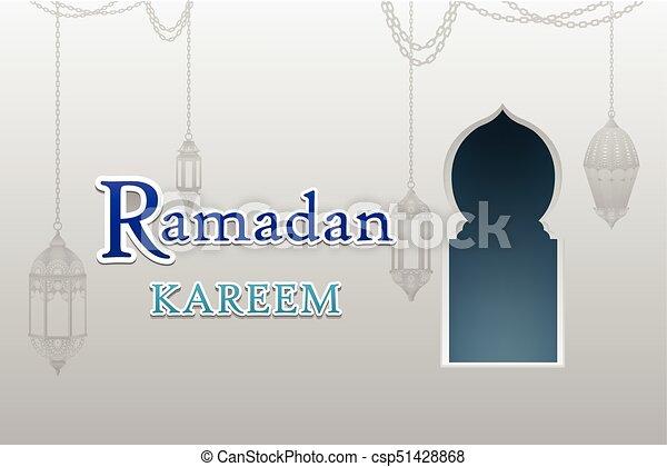 Ventanas de arco árabe y puertas con Ramadan Kareem vector - csp51428868