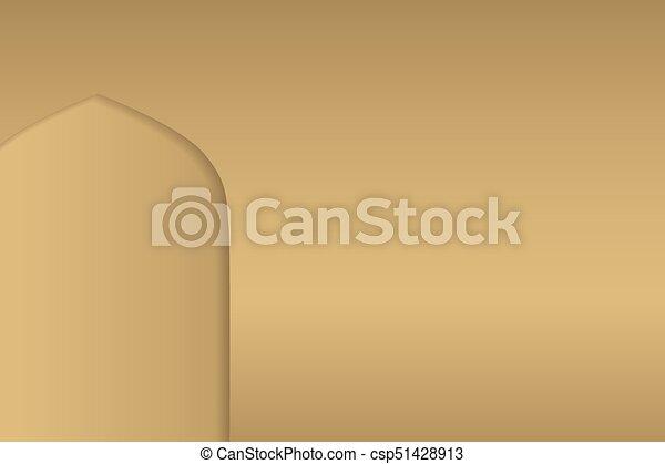 Ventanas de arco árabe y puertas, fondo vectorial - csp51428913