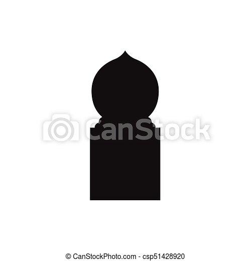 Ventanas de arco árabe y puertas, siluetas vectoriales - csp51428920