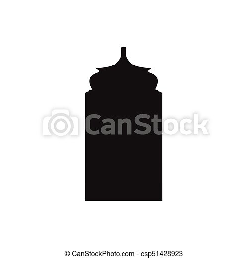 Ventanas de arco árabe y puertas, siluetas vectoriales - csp51428923