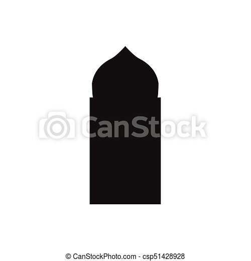 Ventanas de arco árabe y puertas, siluetas vectoriales - csp51428928