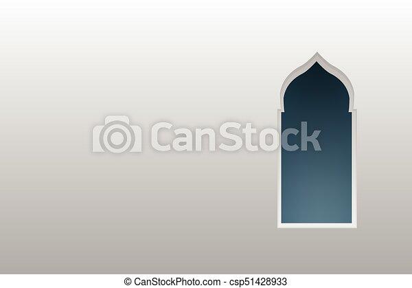 Ventanas de arco árabe y puertas, vector - csp51428933
