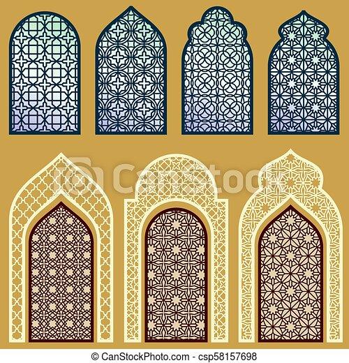Ventanas islámicas y puertas con un vector de ornamento de arte árabe fijado - csp58157698