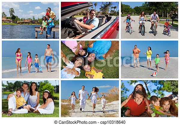 Feliz montaje familiar activo fuera de vacaciones de verano - csp10318640