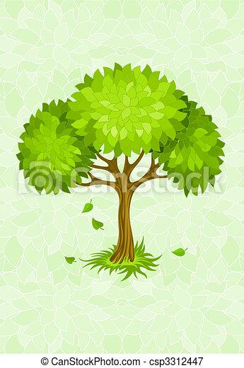 Árbol de verano en verde con adorno - csp3312447
