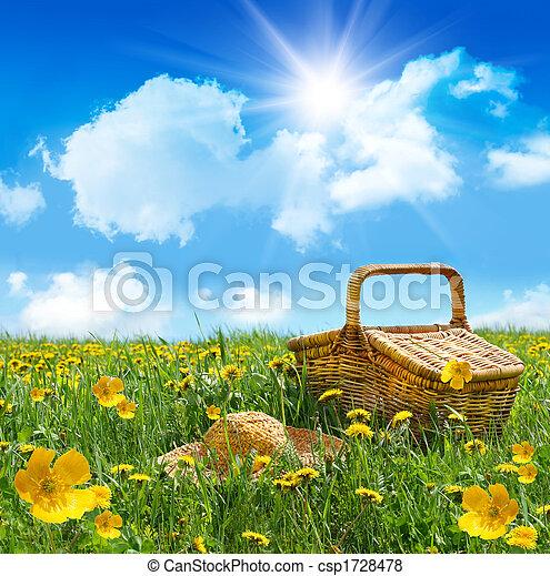Una canasta de picnic de verano con sombrero de paja en un campo - csp1728478
