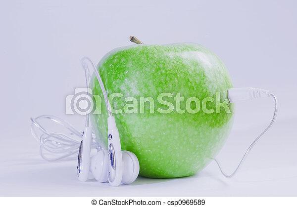 Manzana de música verde - csp0969589