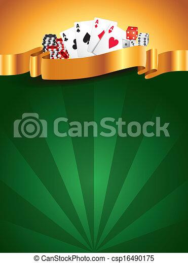 Trasfondo vertical de lujo verde casino - csp16490175