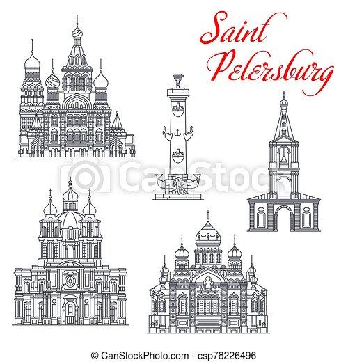 viaje, señales, petersburg, santo, arquitectura - csp78226496