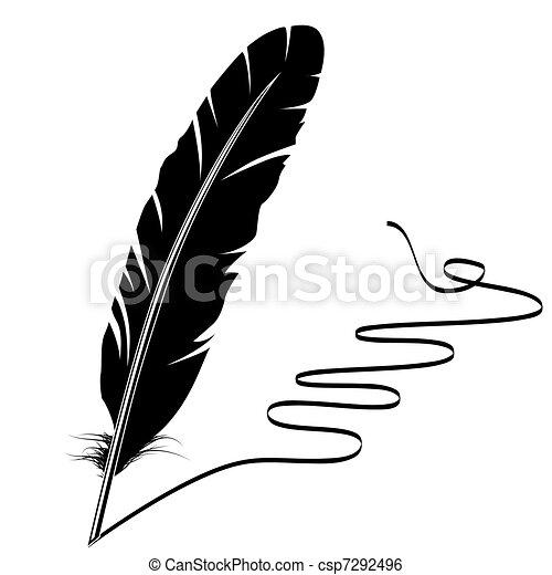 El monocromo vector escribe plumas viejas y florece - csp7292496