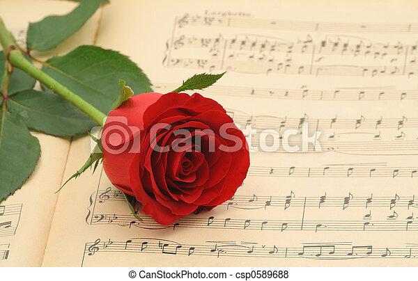 Una vieja partitura con rosa - csp0589688