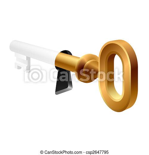 Una vieja llave en un ojo de cerradura - csp2647795