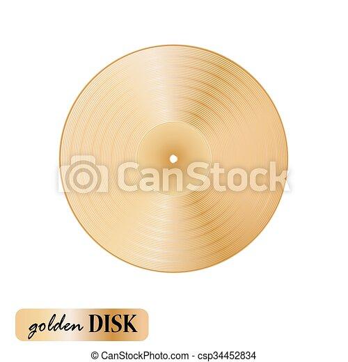 Vinilo de disco dorado en fondo blanco. Ilustración de vectores - csp34452834