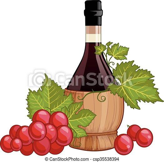 Vino tinto en botella de fiasco italiana - csp35538394