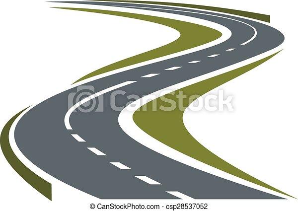 Virando carretera pavimentada o icono de carretera - csp28537052