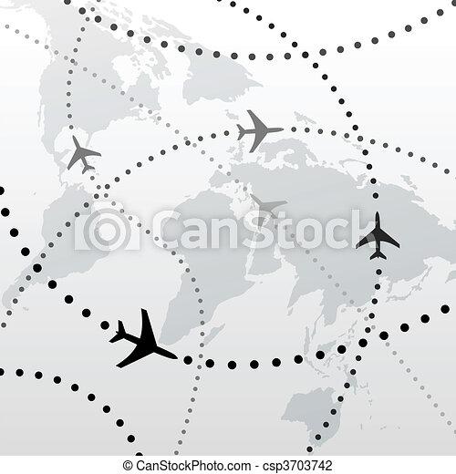 Conexiones de vuelo de avión del mundo - csp3703742