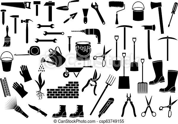 Herramientas de jardines, iconos de línea fina - csp63749155