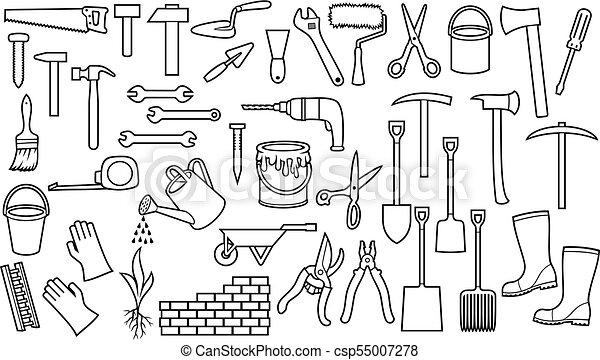 Herramientas de jardines, iconos de línea fina - csp55007278