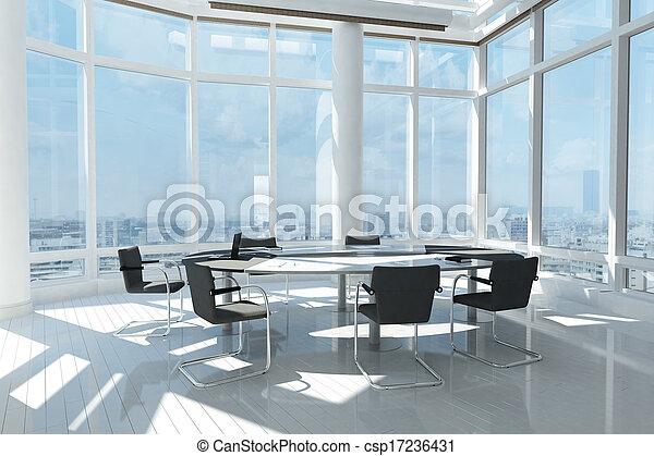 Oficina moderna con muchas ventanas - csp17236431