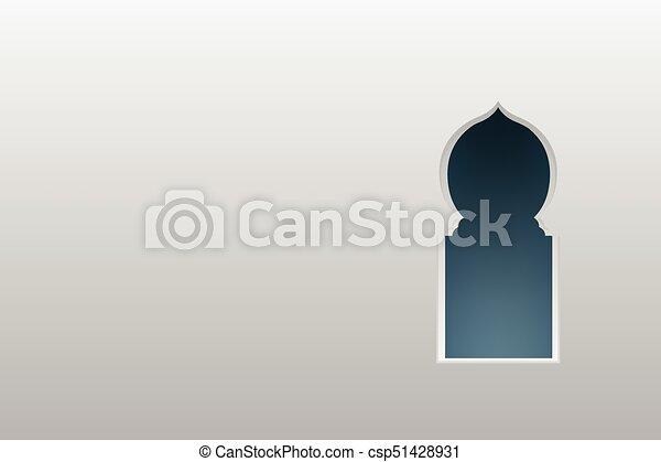 Ventanas de arco árabe y puertas, vector - csp51428931