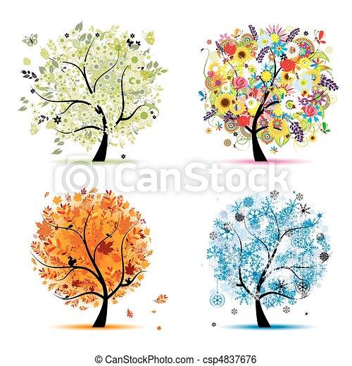 Cuatro estaciones: primavera, verano, otoño, invierno. Árbol de arte hermoso para tu diseño - csp4837676