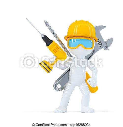Trabajador de construcción y constructor con herramientas - csp16288034