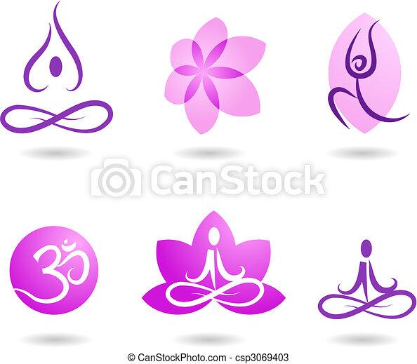Colección de iconos de yoga - csp3069403