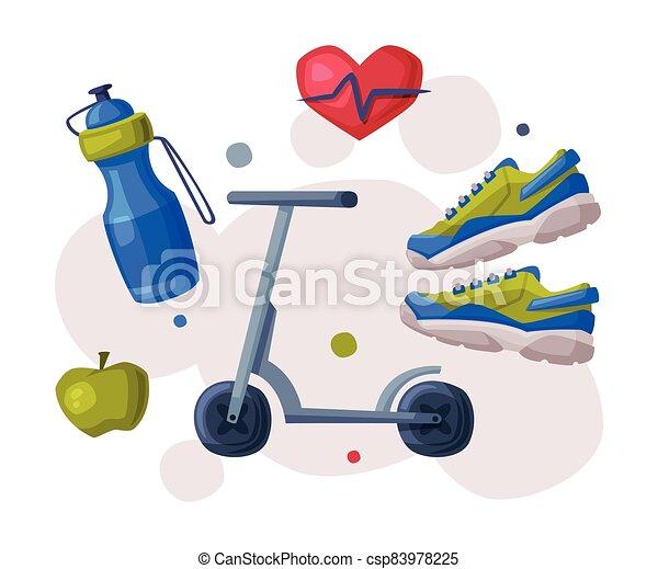 zapatillas, estilo de vida, estilo, patada, vector, sooter, manzana, ilustración, botella, deportes, caricatura, agua sana, entrenamiento cardio - csp83978225
